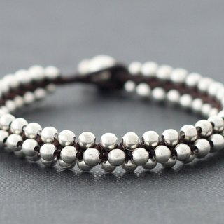 Beaded Silver Round Bracelets Cuff