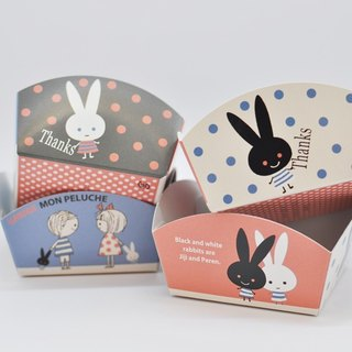 【Kato Torah】 Hand-made dessert carton package material series ★ MON PELUCHE black and white rabbit (10 into)