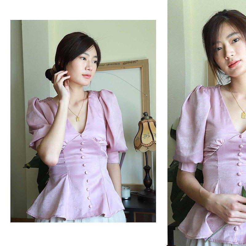 女士上衣(白色/紫色)