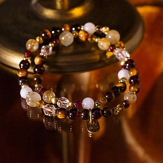 <Slow Temperature Natural Stone> C1232 Tiger Eye Stone Titanium Crystal Double Ring Bracelet // Chocolate