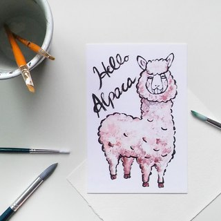 Alpaca post card - Hand Drawn