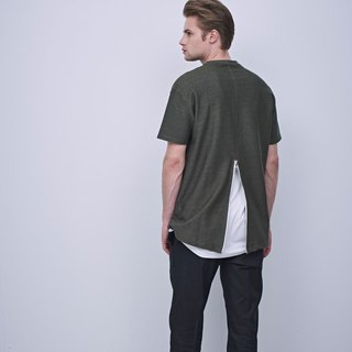 Stone @ S Zipper T-shirt / zipper type army green Tee