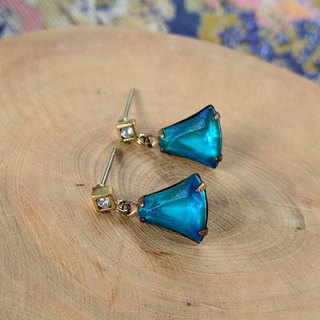 Zircon Blue Vintage Glass Pierced Earrings
