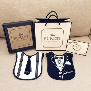 PUREST small gentleman bib gift box group / comprehensive models / baby newborn moon / birthday / gift preferred