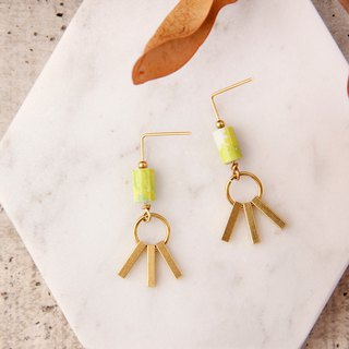 MUSEV Bright Green Brass Pillar Dangle Earrings