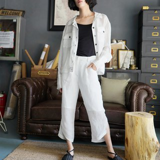 Original design simple linen long sleeve blouse jacket in white