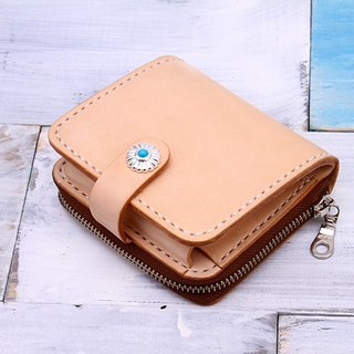 [Cut line] leather handmade short paragraph mini wallet primary colors