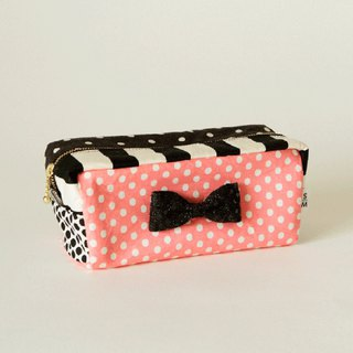 box cube pouch dots borders pink black glitter ribbon brooch Sencond