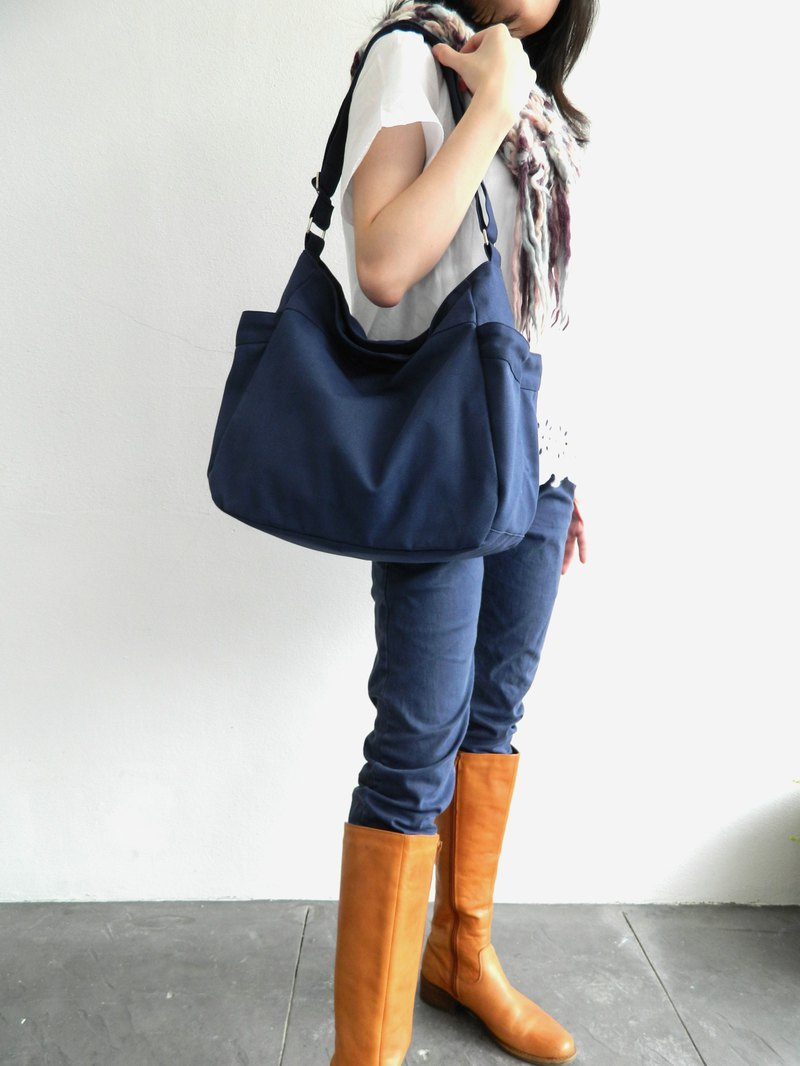 Canvas Diaper bag / Messenger travel bag / laptop bags - RENEE in Navy (no.101)
