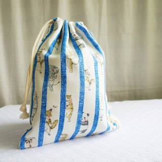 Lovely Japanese cloth [animal peekaboo TN notepad hand pocket bag] blue, can be loaded with long clips