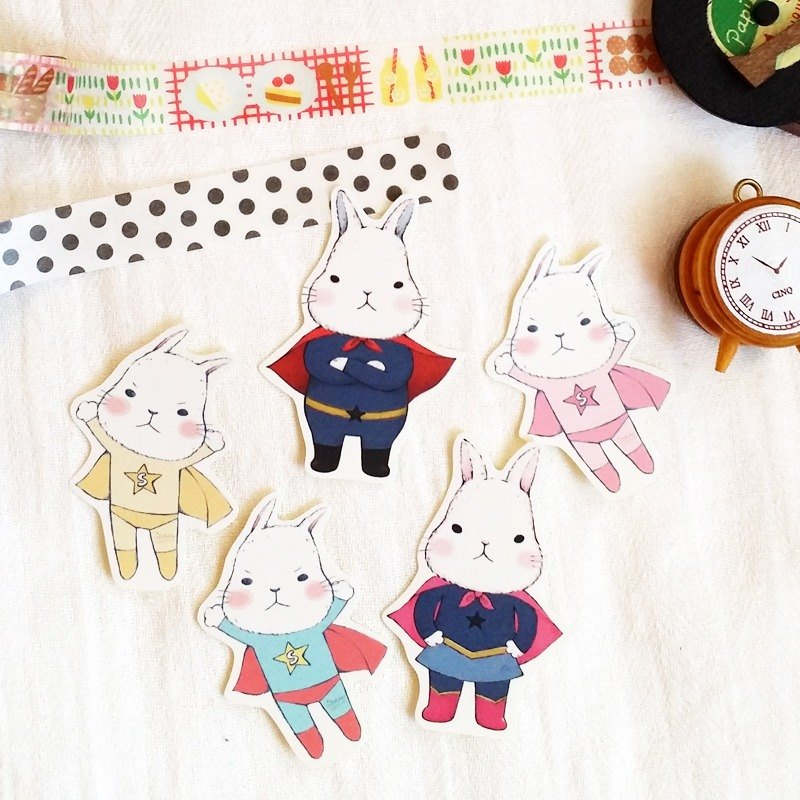 Matte Texture Sticker / Cute White Rabbit / Group 11 (5 in)