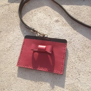 Horizontal bow identification card. ID card holder, leisure card holder, hanging neck, hand-stitched lanyard, leather. Red