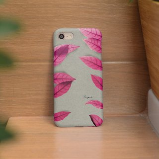 iphone case two side pink leaf for iphone5s, 6s, 6s plus, 7, 7+, 8, 8+, iphone x
