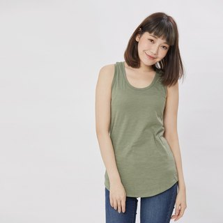 Slub yarn fabric summer tank /Green