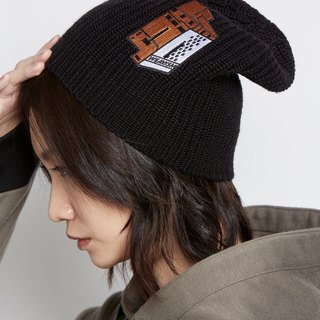 Small house design black cap orange embroidery