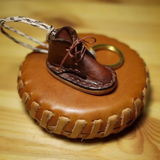 Handmade small leather shoes key holder GNOMES