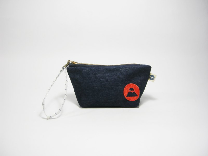 ● red dot Fuji embroidery FIG clutch (denim) __ as for hand-made zipper bag zuo zuo