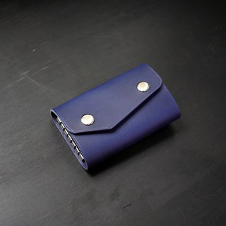 [Christmas limited offer] six-hole key bag - Zhan blue [Fu Lie District carved leather]