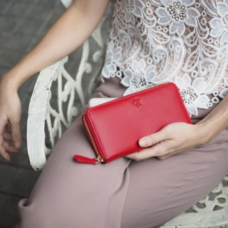 Classic wallet (Berry red) : Long zip wallet, cow leather