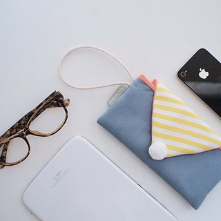 Hairmo striped macaron mobile phone bag - suede blue (mobile / mobile power)