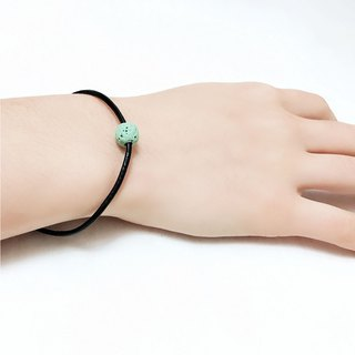 Aqua Green Lava Bead Diffuser Thin Black Leather Bracelet with Extend Chain