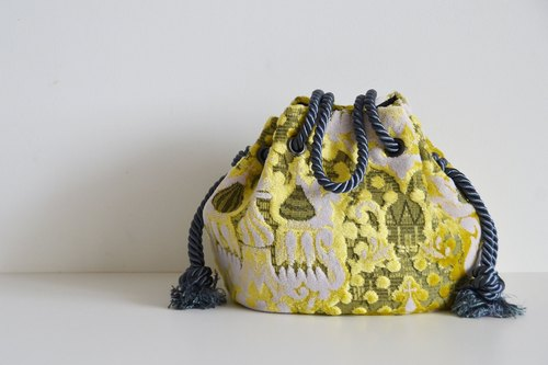 New work! Satin rope mosque Marine bag Yellow beige