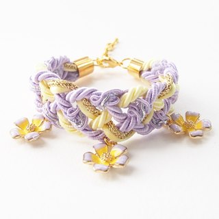 Lilac & Light yellow braided bracelet + flower charms