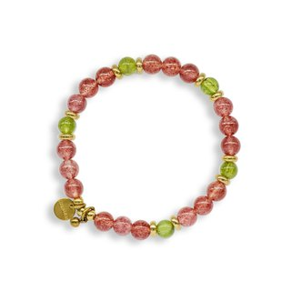 String Series Brass Strawberry Olivine Bracelet Natural Ore Crystal