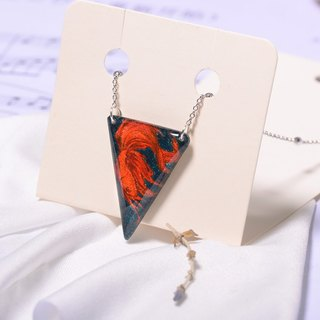 Goldfish handmade color lead drawing drawing, electroplating platinum necklace, creative hand, can be customized