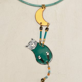 Cat necklace, Enamel necklace, Enameled jewelry, Cat jewelry, Cat and moon