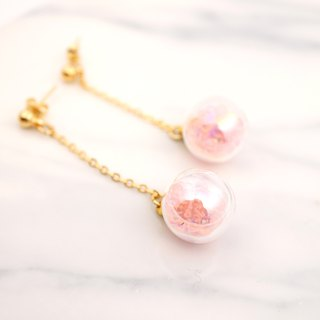 Soap Bubble with Pink Beads Glass Ball Earrings