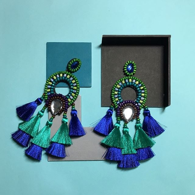 earrings : boho chic x2nd blue l green