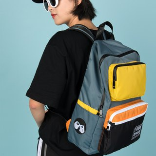 KIITOS new waterproof nylon polyester contrast color embroidery street backpack after the backpack - gray gestures