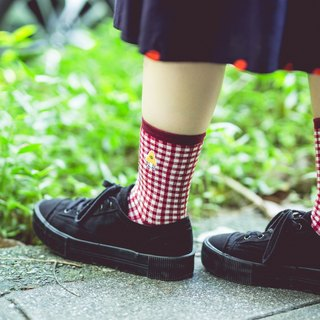 Classic lattice red - bathroom demon _ monster series _ NAKID SOCKS_ socks _ socks _ cotton socks