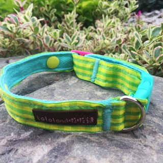 Chain hair child collar - Wenqing lattice small grass yellow green 2 cm wide version [Spot]