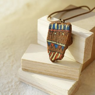 Upcycling Necklace, Wood piece, Free hand drawing Eco - blue, red, yellow