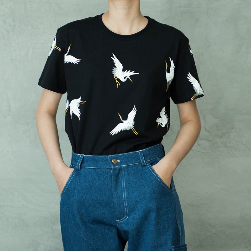 SYAO / cranes cotton printed T-shirt men and women with the same paragraph