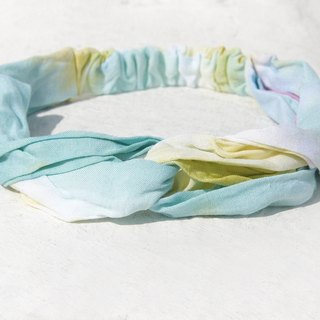 Christmas gifts Christmas market exchange gifts limited a handmade hair band / French hair band / double knot hair band / elastic hair band / handmade cotton hair band / gradient band - Lyme lemon gradient rainbow