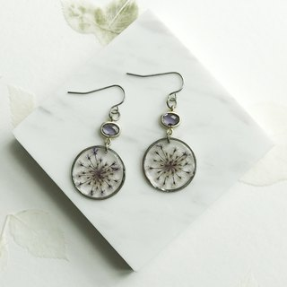 Real flower Queen Anne's Lace S925 silver earrings