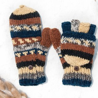 Hand-knitted pure wool knit gloves / detachable gloves / inner bristled gloves / warm gloves - Sala Desert