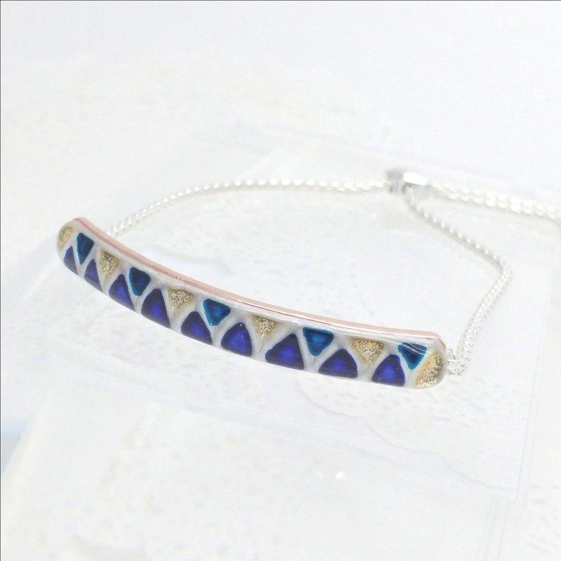 彩繪純銀球形滑扣手鏈, 藍色