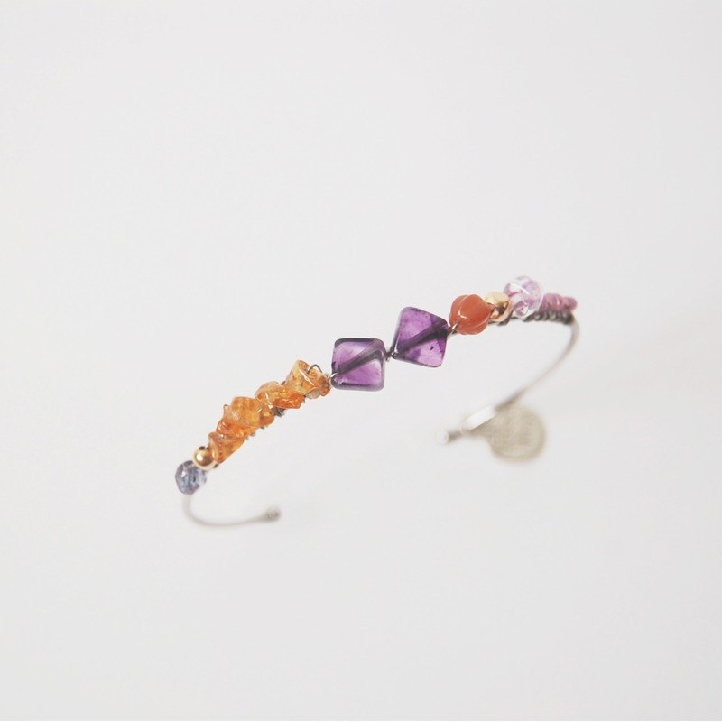 黃晶  紫水晶  天然石水晶拼配手鐲手環