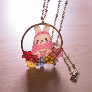 // 2nd use rabbit doll accessories / jewelry cloth / cloth necklace / camouflage Russian doll series