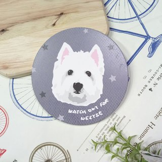 Customized (can add words) - West Highland White Terrier Series - Water Cup Coaster ~ Ceramic Coaster