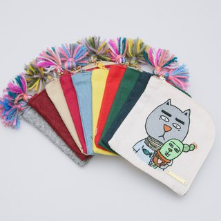 Illustration X Embroidered Cotton Canvas/Denim/Non-woven Square Coin Purse - Gentle Fat Cat