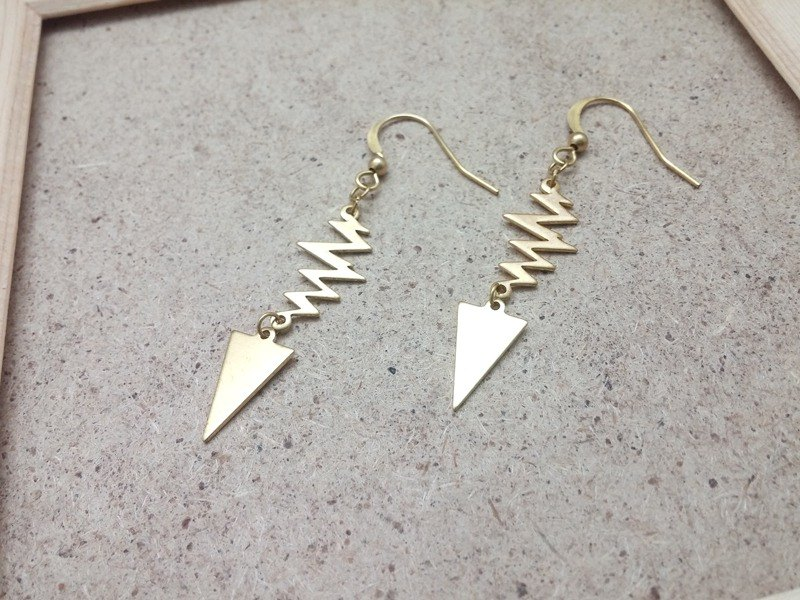 Brass earrings lightning triangle ear hook