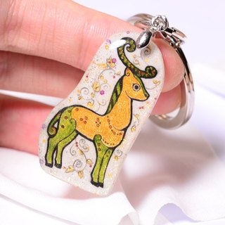 Darling series - deer pure hand-painted color drawing drawing, alloy key ring, creative hand, can be customized