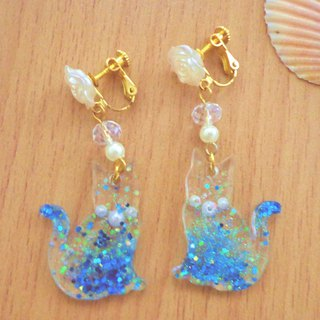 Blue Transparent Cat Earrings in Pierce and Clip-on Decor with Blue Glitter