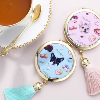 French Bulldog Compact Mirror/ Foldable Mirror/ Pocket Mirror【Bruni・PINK】