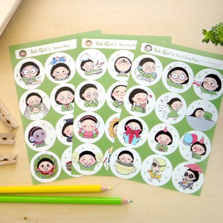 Bob Girl Sticker Sheet - Circle, Round Stickers, Expression, Planner Stickers
